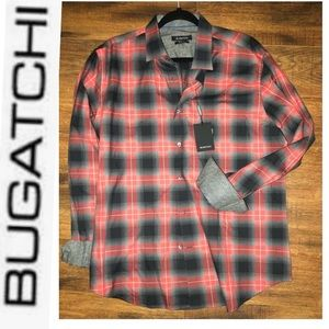 NWT Bugatchi Red & Charcoal Button up XL